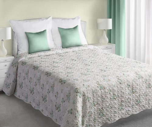 Eurofirany Narzuta Młodzieżowa Na łóżko 170x210 Fiore Biały Miętowy